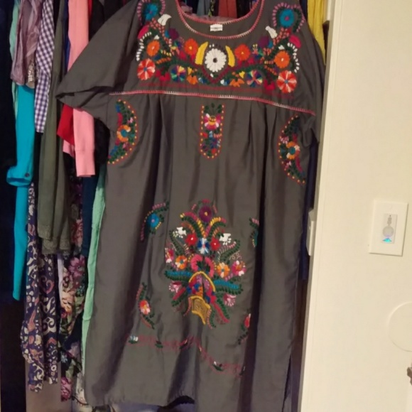 NWOT Grey Mexican Peasant Dress Size XL